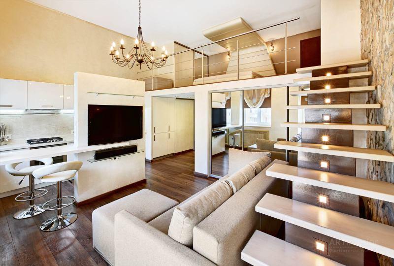 кухня-студия с лестницей | Дизайн и стиль интерьера квартиры, дома, офиса от «Artinterior», Киев, artinterior.com.ua