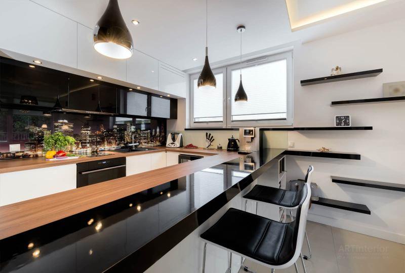 кухня со стекляным фартухом | Дизайн и стиль интерьера квартиры, дома, офиса от «Artinterior», Киев, artinterior.com.ua