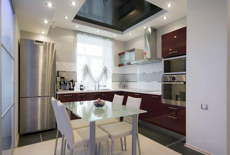 кухня, стеклянный стол | Дизайн и стиль интерьера квартиры, дома, офиса от «Artinterior», Киев, artinterior.com.ua